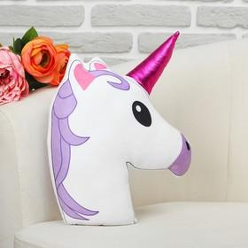 Soft toy pillow Unicorn bilateral, purple mane