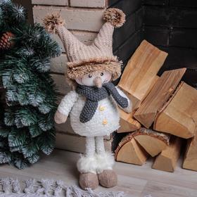 """Кукла интерьерная """"Снеговик в коричневой шапочке"""" 47 см"""