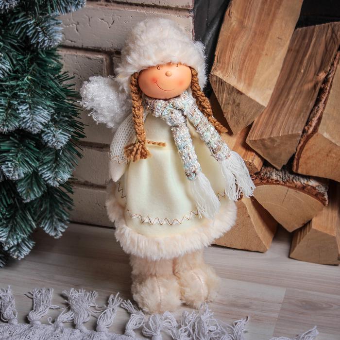 """Кукла интерьерная """"Девочка-ангелочек в меховых валенках"""" 40 см"""
