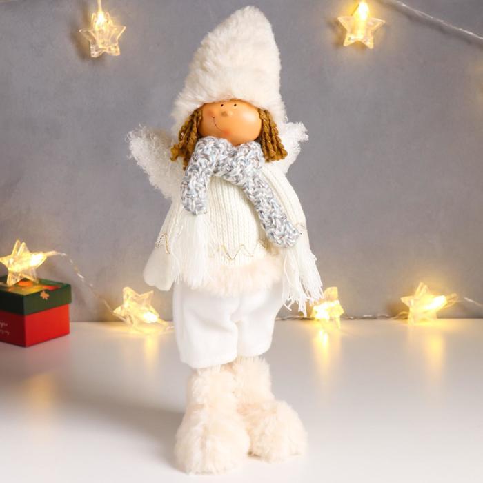 """Кукла интерьерная """"Мальчик-ангелочек в меховых валенках"""" 40 см"""