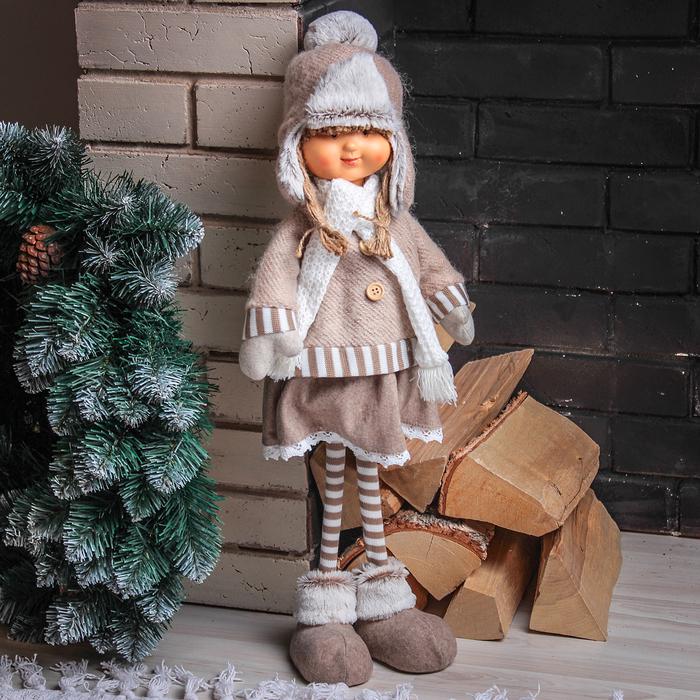 """Кукла интерьерная """"Маруся в шапочке-ушанке"""" 52 см"""