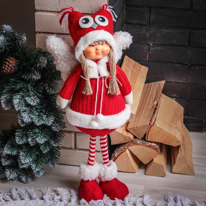 """Кукла интерьерная """"Ангелочек-девочка в красном пальто"""" 52 см"""