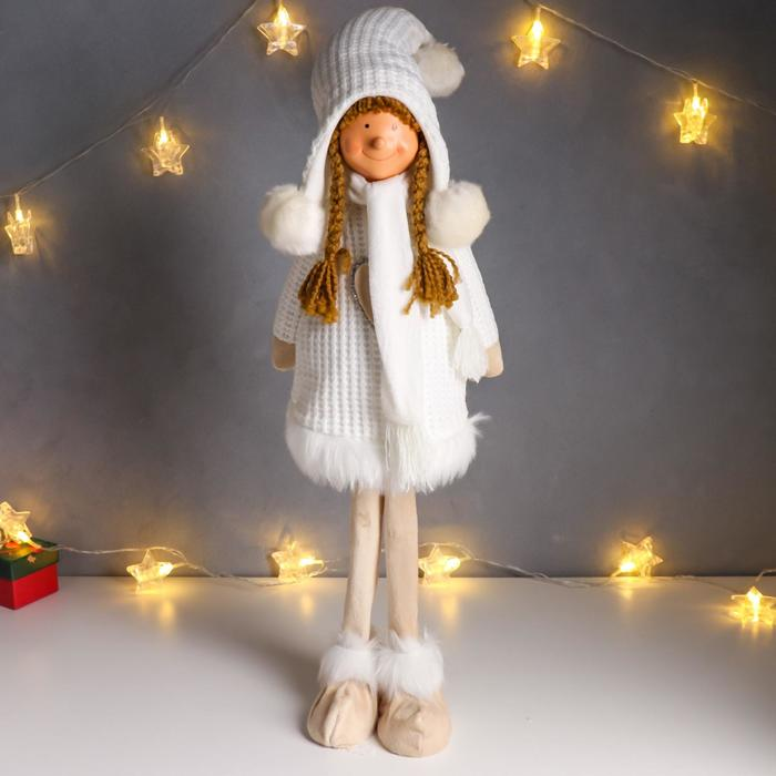 """Кукла интерьерная """"Девочка в белом платье с сердечком"""" 78 см"""