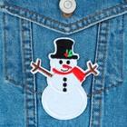 """Термоаппликация """"Снеговик в шляпе"""", 8,5*7см, цвет белый"""