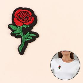 Термоаппликация 'Роза', 4,5*3см, цвет красный Ош