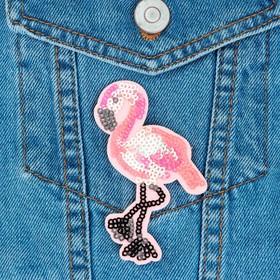 Термоаппликация 'Фламинго', с пайетками, 9*5см, цвет розовый Ош