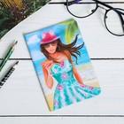 """Обложка на паспорт """"Сочи"""" (девушка на пляже), 9,5 х 14 см"""