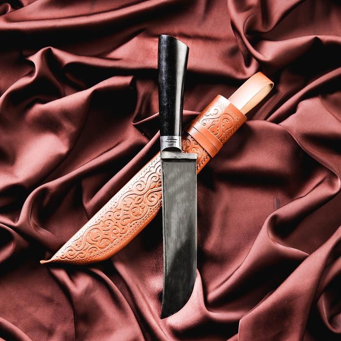 Нож Пчак Шархон средний, чёрная рукоять из граба (сухма), гарда из олова