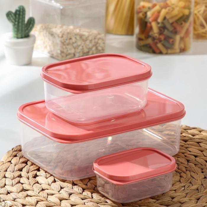 Набор контейнеров пищевых, прямоугольных, 3 шт: 150 мл; 500 мл; 1,2 л, цвет коралловый