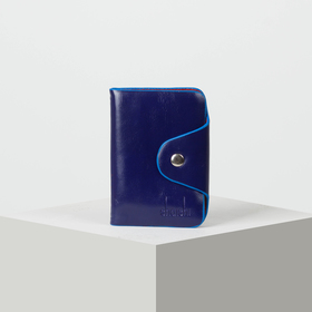 Визитница вертикальная, 1 ряд, 26 листов, цвет синий