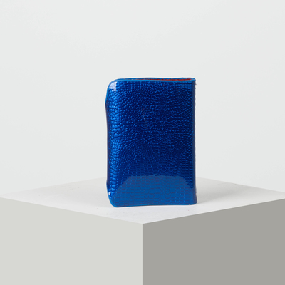 Визитница вертикальная, лак рептилия, 1 ряд, 26 листов, цвет синий