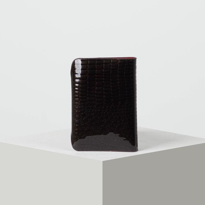 Визитница вертикальная, лак рептилия, 1 ряд, 26 листов, цвет чёрный