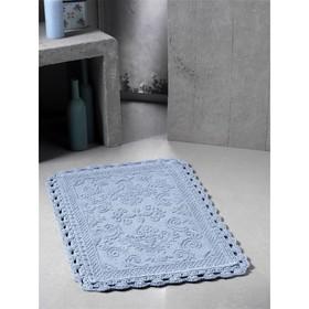 Коврик для ванной кружевной Darin, размер 55х85 см, голубой