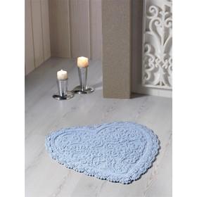Коврик для ванной кружевной Sisley, размер 60х65 см, цвет голубой