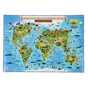 Интерактивная карта Мира для детей «Животный и растительный мир Земли», 60 х 40 см, без ламинации Ош