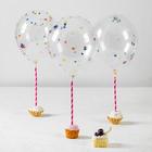 """Шары латексные 10"""", декоративные с конфетти, набор 3 шт., палочки, держатели"""