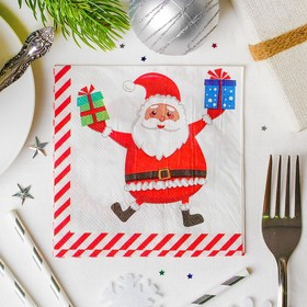 Салфетки «С Новым годом!», дед мороз с подарочками, 25х25см