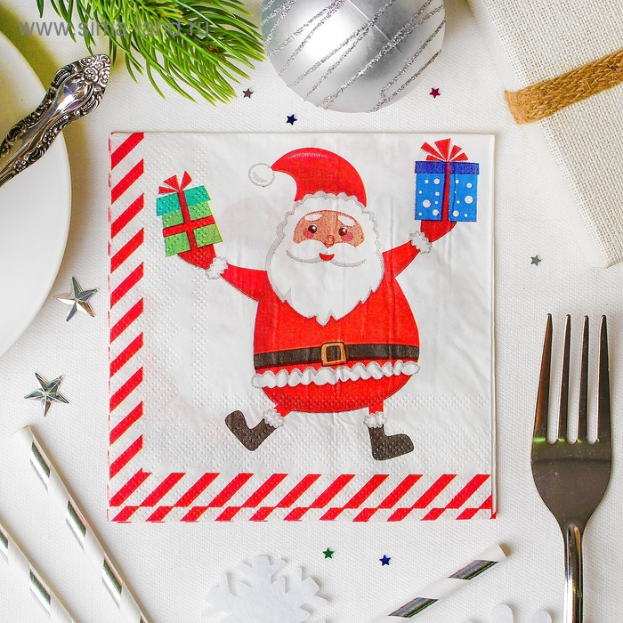 """Napkins """"happy New year!"""" grandfather frost with gifts 25*25cm"""