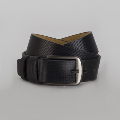 Men's belt, buckle is a dark metal, width 4 cm, color black
