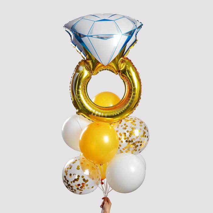 """Фонтан из шаров """"Кольцо"""", с конфетти, латекс, фольга,10 шт. - фото 957551"""