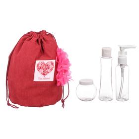 """Набор """"Только для тебя"""": косметичка-мешок и 3 ёмкости для косметики"""