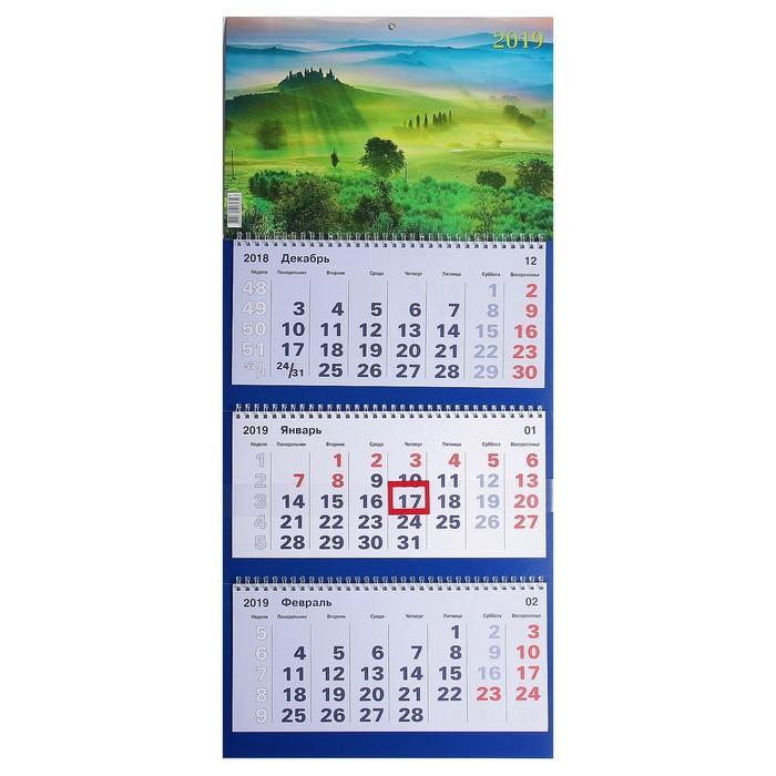 """Календарь квартальный, трио """"Природа - 3"""" 2019 год, 31х69см"""