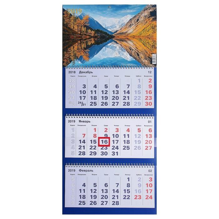 """Календарь квартальный, трио """"Природа - 9"""" 2019 год, 31х69см"""