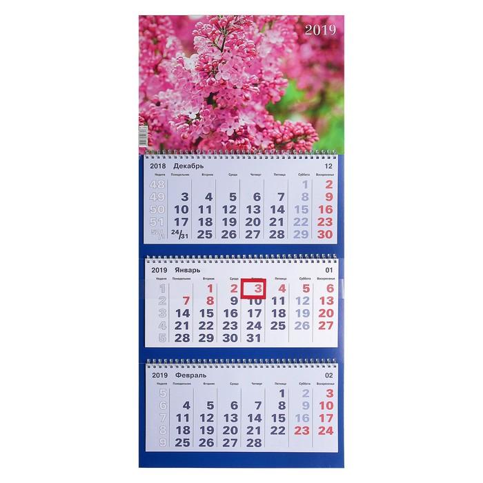"""Календарь квартальный, трио """"Цветы - 6"""" 2019 год, 31х69см"""