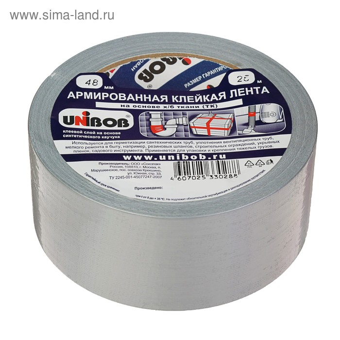 Клейная лента Unibob армированная  на ткани 48мм х 25м