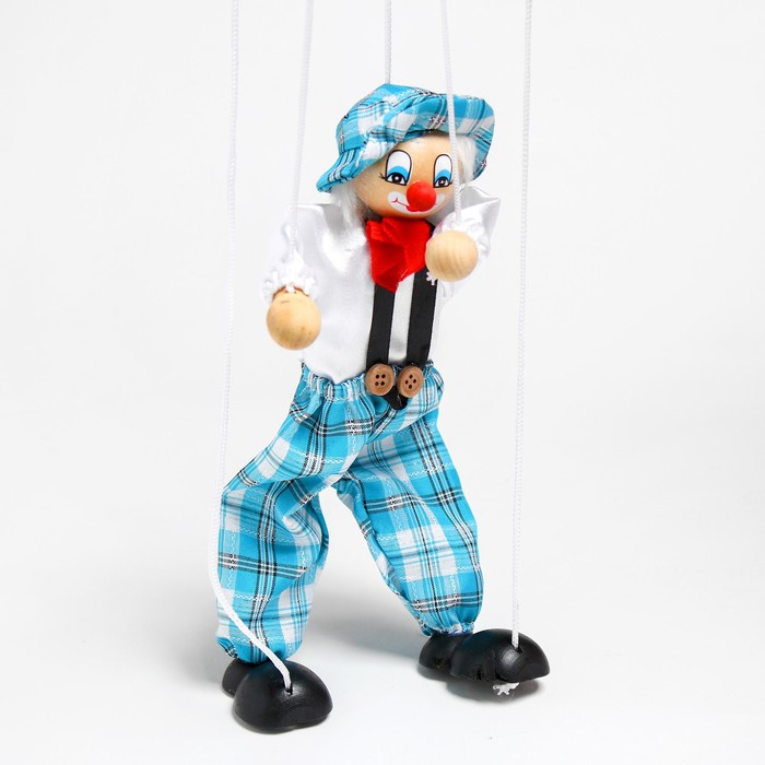 """Дергунчик - марионетка на ниточках """"Клоун в шляпе"""", цвета МИКС"""