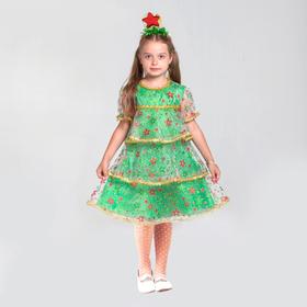 """Карнавальный костюм """"Ёлочка в звёздах"""", органза, платье, ободок, р-р 28, рост 98-104 см"""
