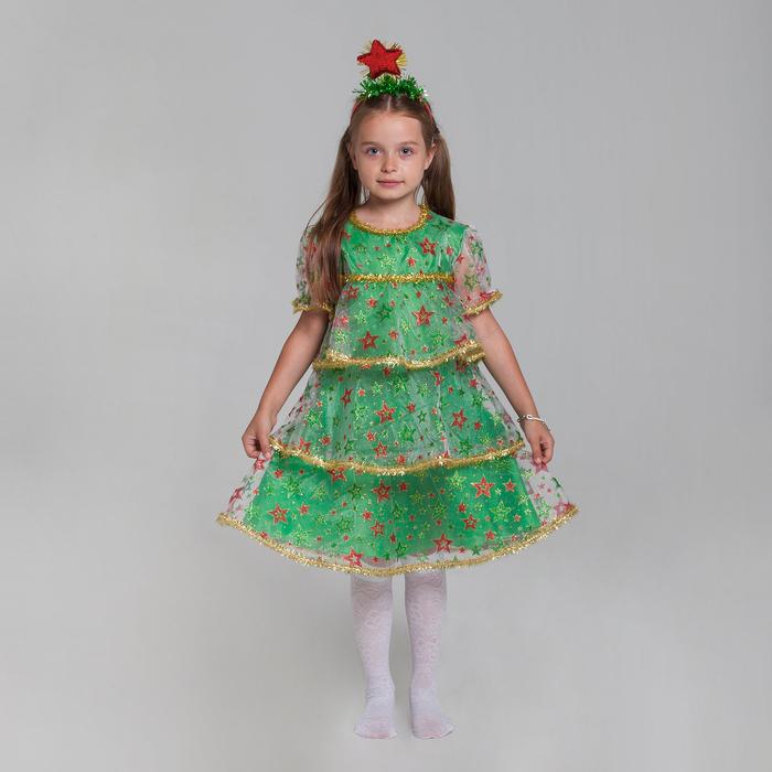 """Карнавальный костюм """"Ёлочка в звёздах"""", органза, платье, ободок, р-р 32, рост 122-128 см"""