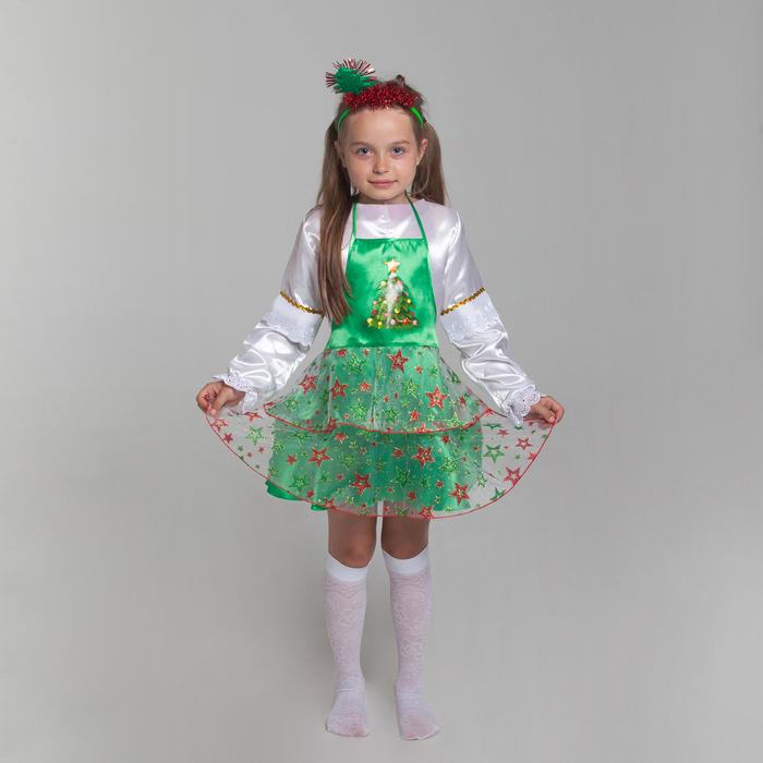 """Карнавальный набор """"Ёлочка"""", сарафан, ободок, р-р 30, рост 116-128 см"""