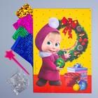 """Фреска цветной фольгой """"С Новым годом!"""" Маша и Медведь + стека, блестки"""