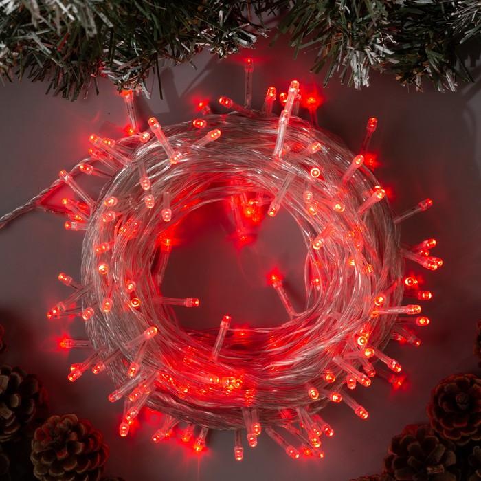 """Гирлянда """"Нить"""" 20 м , IP20, прозрачная нить, 200 LED, свечение красное, 8 режимов, 220 В - фото 725197101"""