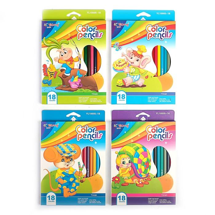Карандаши 18 цветов, в картонной коробке, Yalong, заточенные, треугольные, «Детские», МИКС
