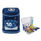 Ранец на замке Belmil Zero-G Footba для мальчика, синий + пенал с наполнением