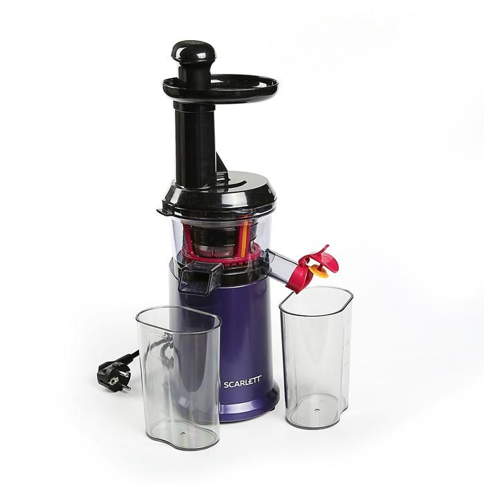 Соковыжималка Scarlett SC - JE50S39, шнековая, 200 Вт, 1 л, чёрно-фиолетовая