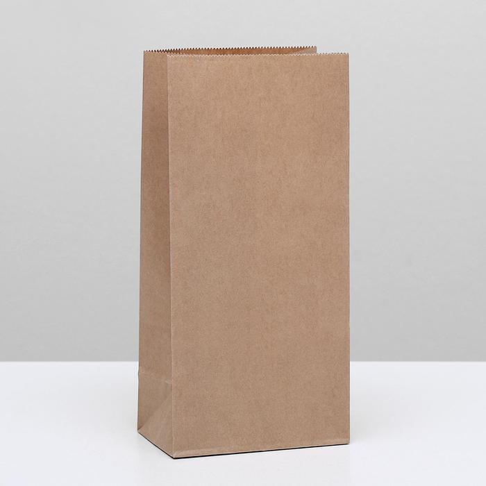 Пакет крафт бумажный фасовочный, прямоугольное дно 12 х 8 х 25 см - фото 308015743