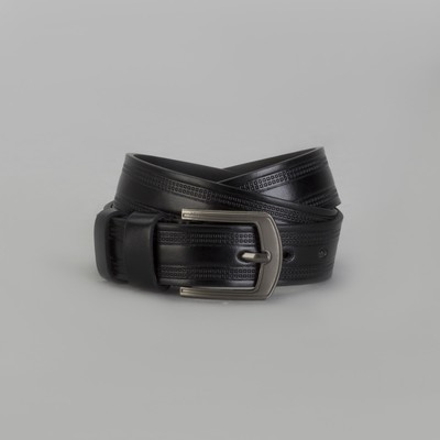 Men's belt, buckle matte dark metal, width 3.5 cm, color black