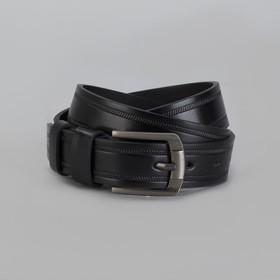 Ремень мужской, пряжка матовый тёмный металл, ширина - 3,5 см, цвет чёрный