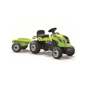 Трактор педальный Smoby с прицепом XL, зелёный