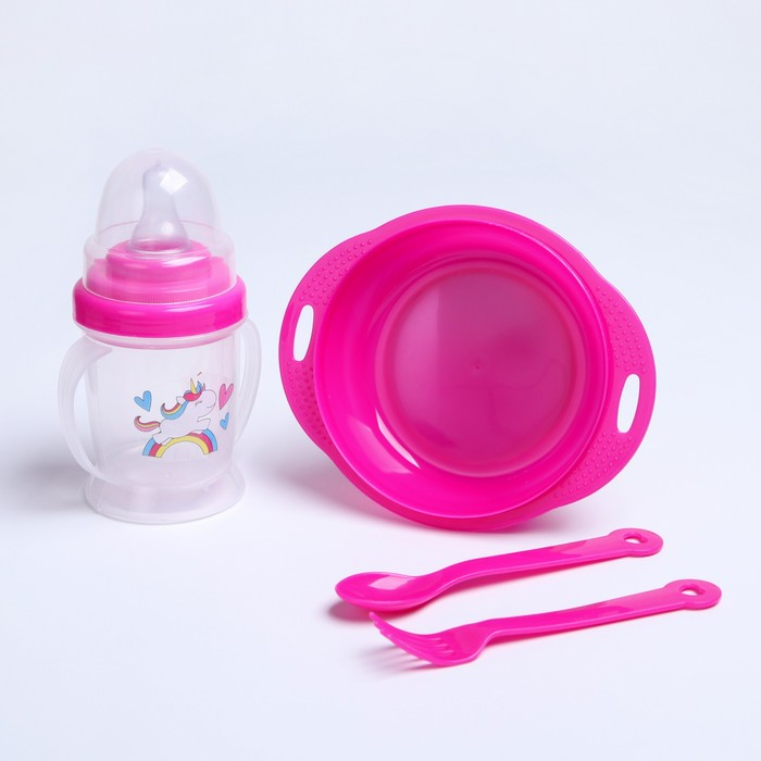 Набор детской посуды «Милашка», 4 предмета: тарелка, бутылочка, ложка, вилка, от 5 мес.