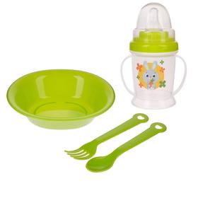 Набор детской посуды «Зайка», 4 предмета: тарелка, поильник, ложка, вилка, от 5 мес.