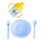 Набор детской посуды «Маленький джентльмен», 4 предмета: тарелка, поильник, ложка, вилка, от 5 мес.