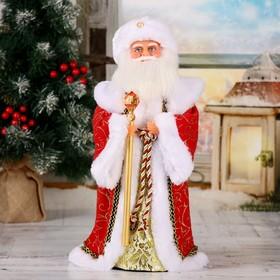 """Дед Мороз  """"Посох с кристаллом"""" красный, двигается, 38 см"""
