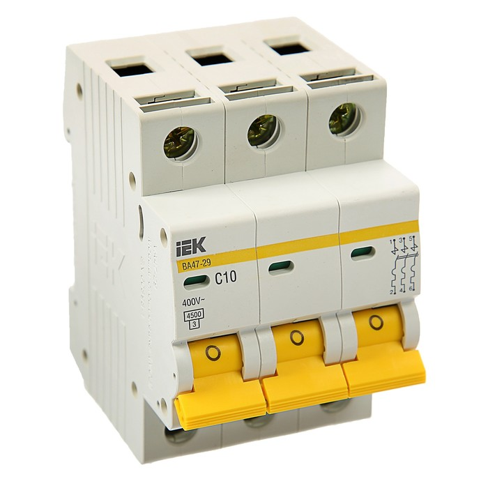 Выключатель автоматический  IEK, ВА47-29, 3п, 10 А, 4,5 кА, характеристика С, MVA20-3-010-C   374253