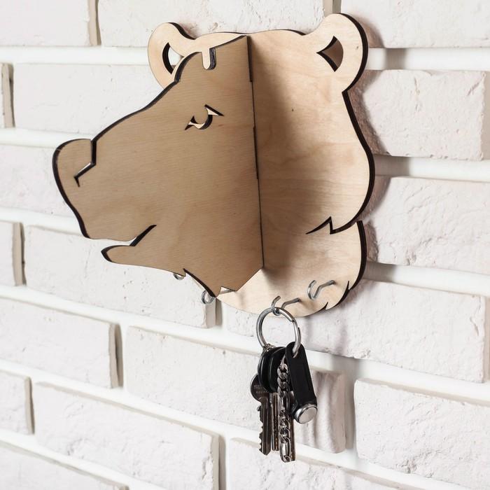 """Ключница-вешалка деревянная """"Медведь"""""""