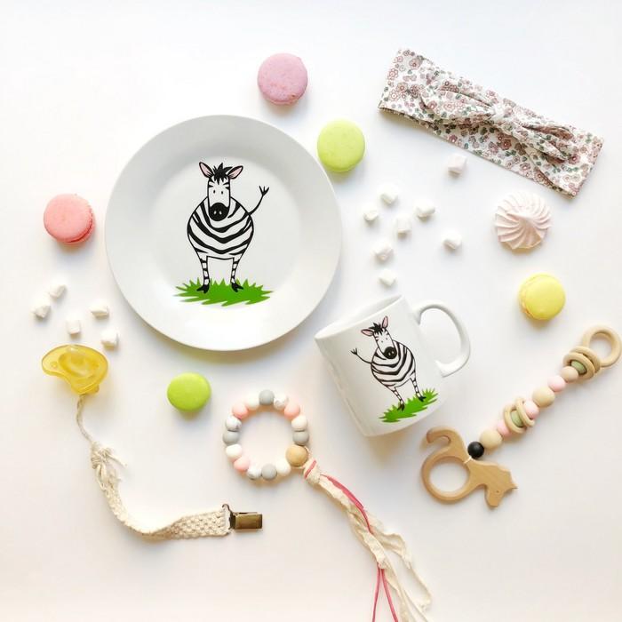 "Набор посуды ""Зебрушка"", 2 предмета: кружка, тарелка"