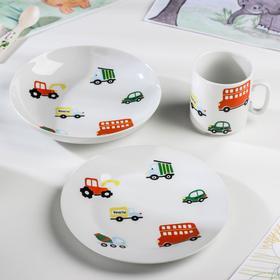 """Набор посуды """"Машинки"""", 3 предмета: кружка, тарелка глубокая, тарелка плоская"""